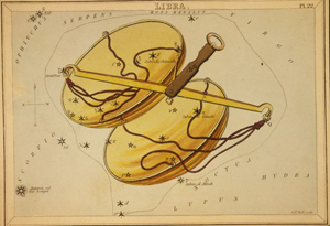 illustrated map of the constellation libra